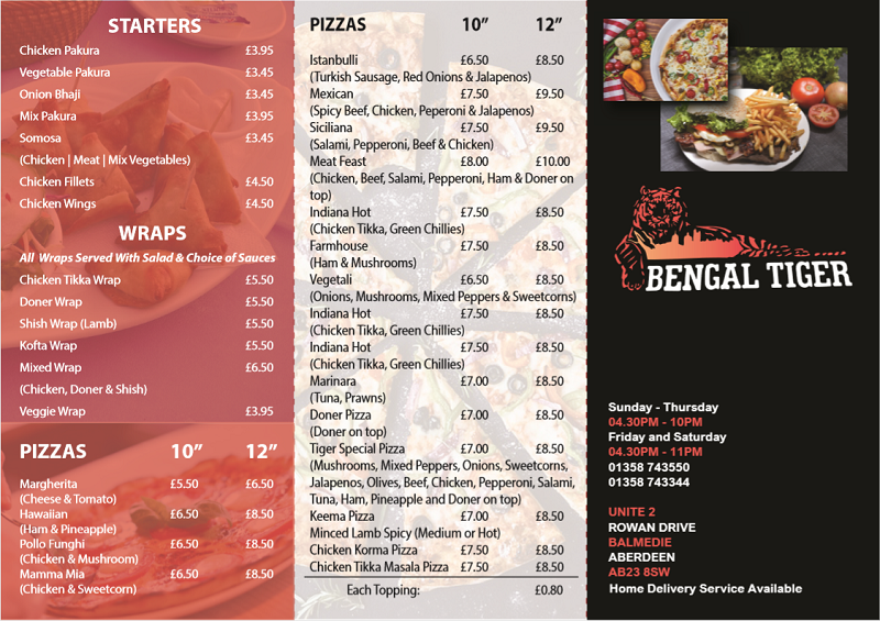 Bengal Tiger Takeaway - Leaflet - Outside  - Bengal Tiger Takeaway Leaflet Outside - Home